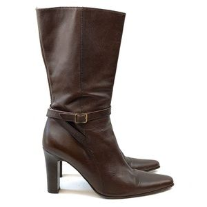 J. CREW Brown Leather Mid-calf Boots Size 9.5